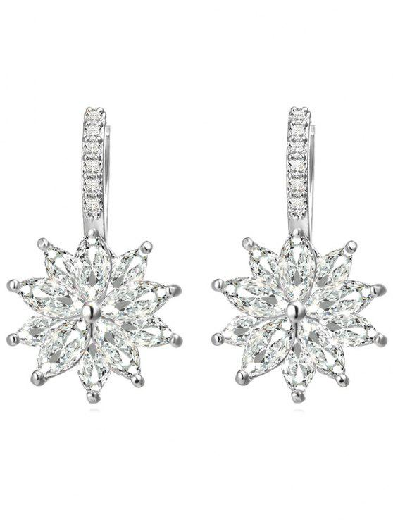 online Rhinestone Inlaid Floral Wedding Earrings - SILVER