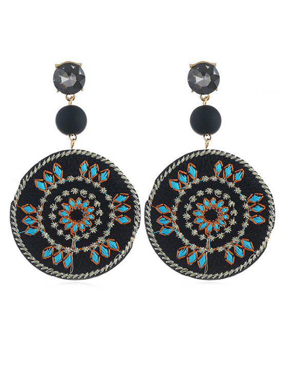 outfits Floral Patterned Round Drop Earrings - BLACK