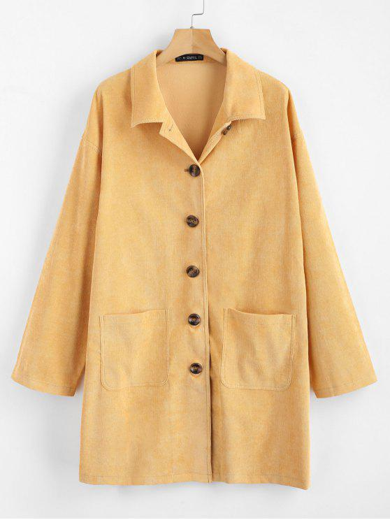 chic ZAFUL Corduroy Shirt Dress - SCHOOL BUS YELLOW ONE SIZE