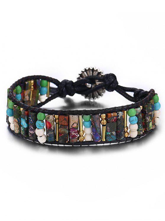 sale Bohemian Carved Floral Beaded Bracelet - ACU CAMOUFLAGE
