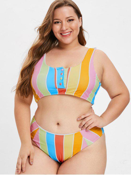 Bikini Plus Size A Righe Con Bottoni Di ZAFUL - Multi Colori L