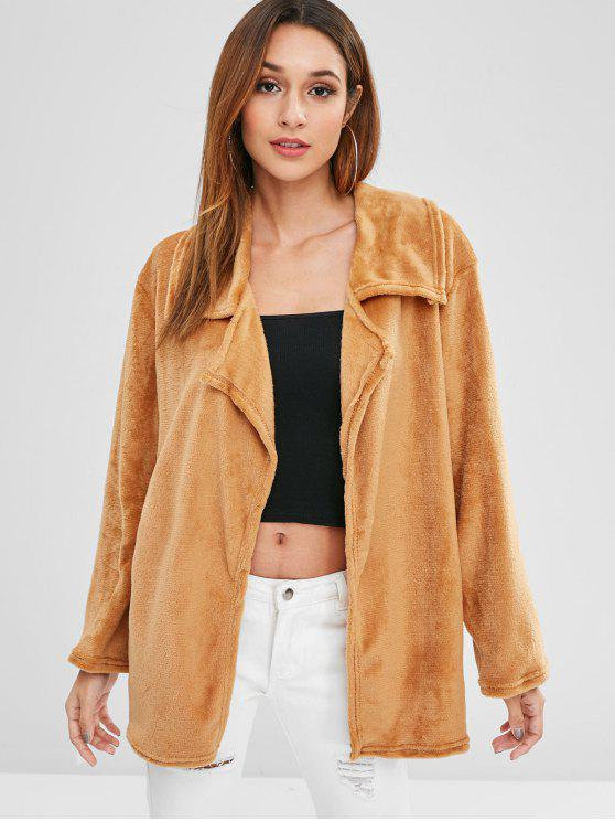 affordable Open Front Fleece Light Coat - LIGHT BROWN L