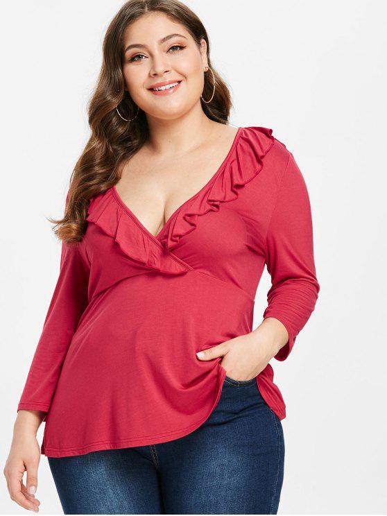 women ZAFUL Plus Size Surplice Low Cut Tee - RED 3X