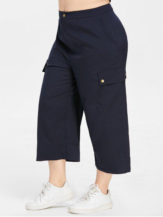 lady ZAFUL Plus Size Wide Leg Pants - MIDNIGHT BLUE 2X