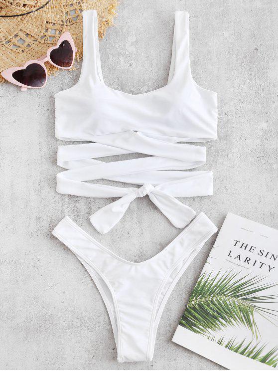 ZAFUL Criss Cross Bikini de pierna alta conjunto - Blanco S