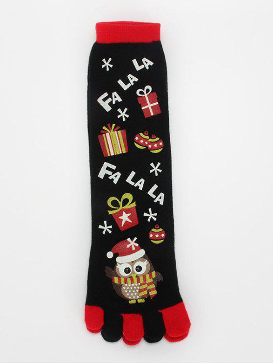 lady Cartoon Owl Full Toe Christmas Socks - BLACK