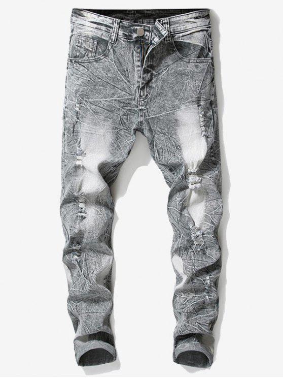 Retro verblasste zerrissene zerknitterte Jeans - Hellgrau 32