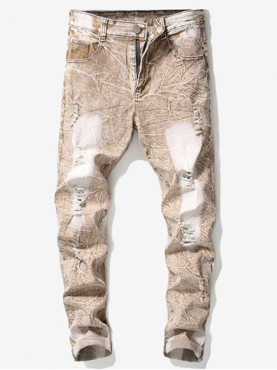 hot Retro Faded Ripped Wrinkled Jeans - ORANGE SALMON 42