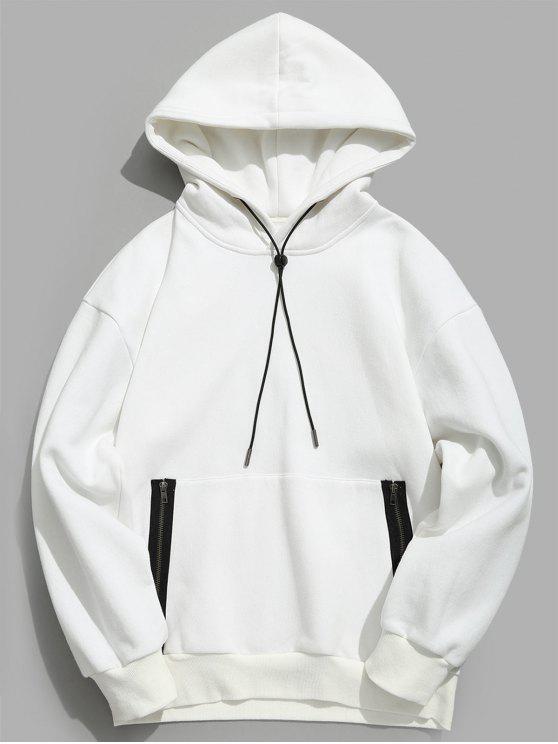 chic ZAFUL Front Zip Pocket Fleece Hoodie - MILK WHITE S
