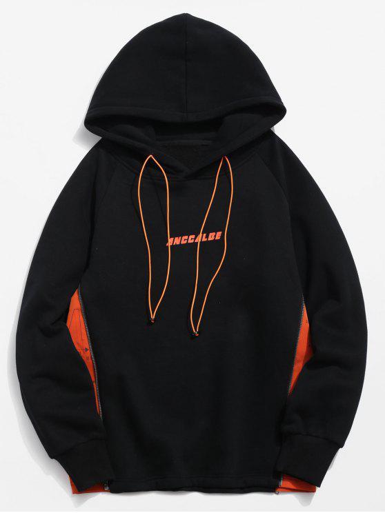 womens ZAFUL Side Zipper Patchwork Contrast Fleece Hoodie - BLACK S