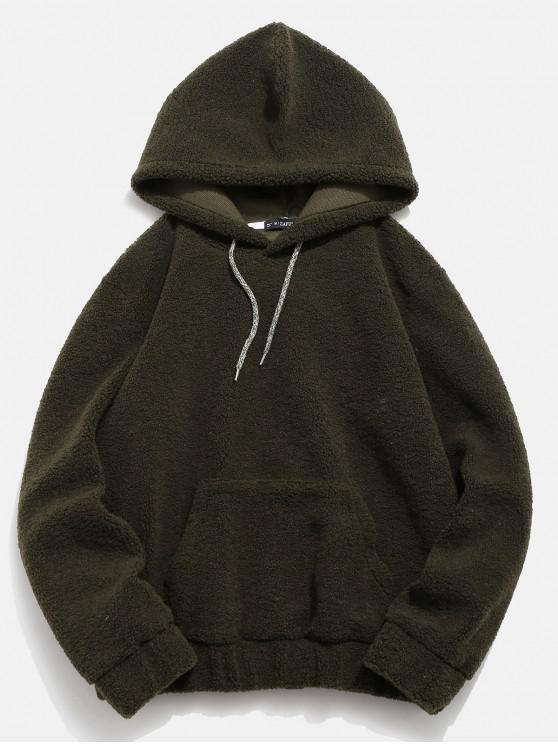 outfit ZAFUL Kangaroo Pocket Faux Fur Hoodie - ARMY GREEN M