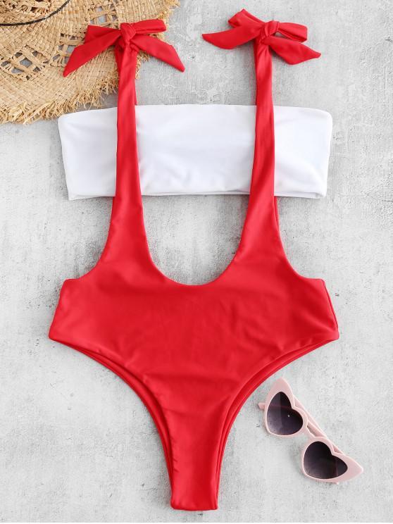 shop ZAFUL Color Block Suspenders Bikini Set - LAVA RED M
