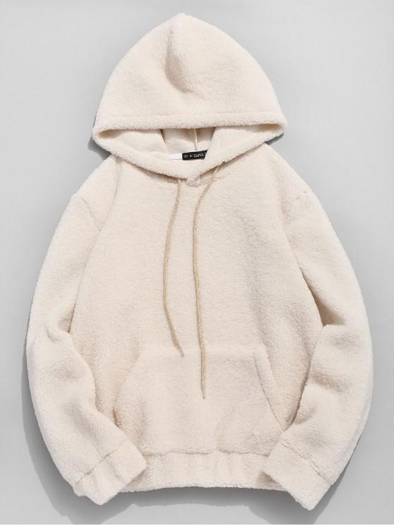 shops ZAFUL Kangaroo Pocket Faux Fur Hoodie - WARM WHITE S