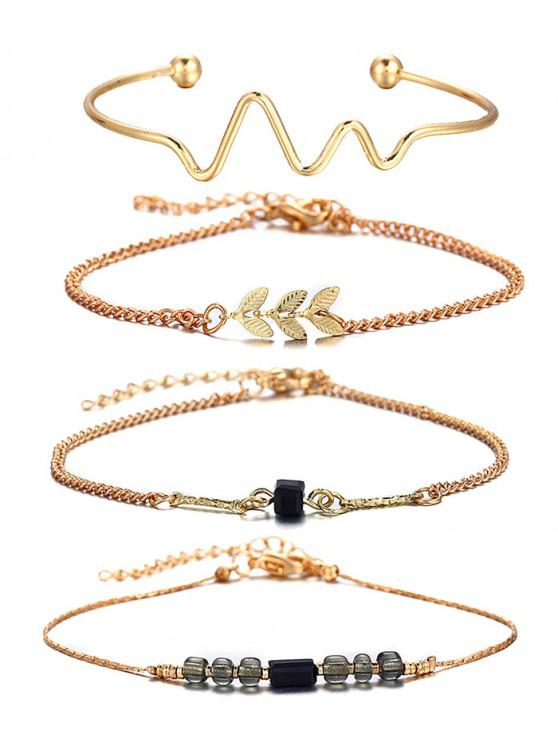 affordable 4 Pcs Wave Feather Beaded Alloy Bracelet Set - GOLD
