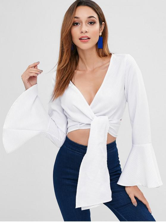 online ZAFUL Bell Sleeves Tie Front Striped Blouse - WHITE XL