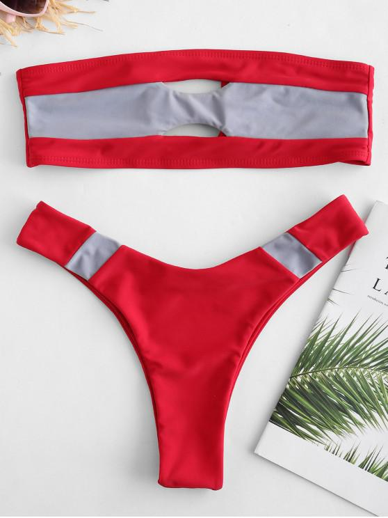ZAFUL Bikini de Bralette Recorte de Bloque de Color - Rojo M