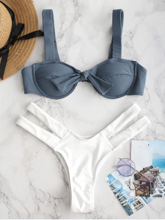 unique ZAFUL Underwire Knotted Cutout Bikini Set - MARBLE BLUE S