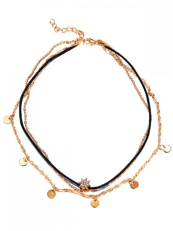 women's Stylish Round Sequins Rhinestone Multi Layers Choker Necklace - GOLD