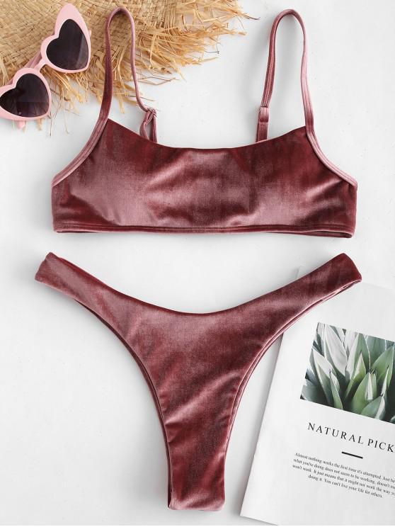 women ZAFUL Velvet High Leg Bikini Set - ROSE GOLD S