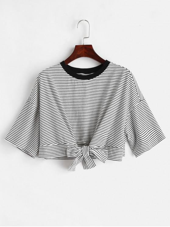 women ZAFUL Front Knot Crop Striped Tee - MULTI L