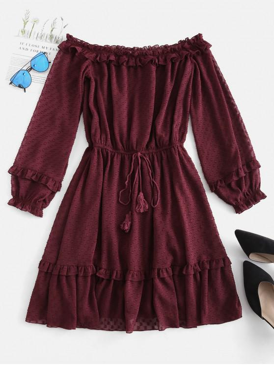 unique ZAFUL Off Shoulder Frilled Sheer Mini Dress - RED WINE M