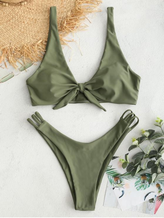 women's ZAFUL Plunge Knot Ladder Strap Bikini Set - CAMOUFLAGE GREEN M