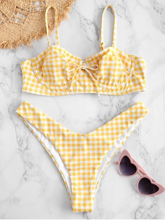 unique ZAFUL Gingham High Cut Bikini Set - GOLDEN BROWN M