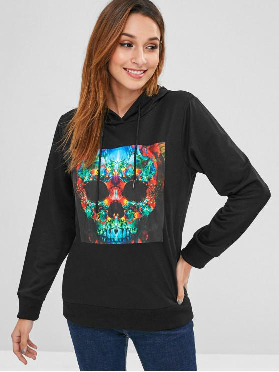 outfits ZAFUL Drawstring Skull Graphic Halloween Hoodie - BLACK ONE SIZE