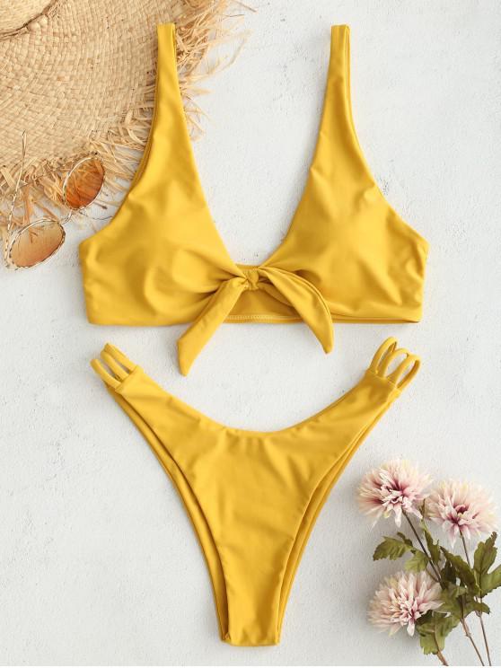 womens ZAFUL Plunge Knot Ladder Strap Bikini Set - GOLDEN BROWN M