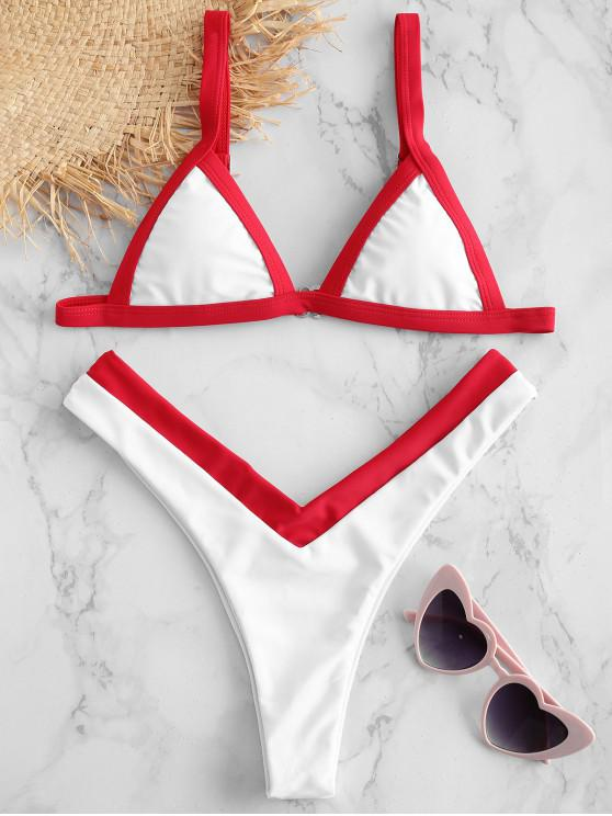 outfits ZAFUL Color Block Plunging Bikini Set - WHITE S