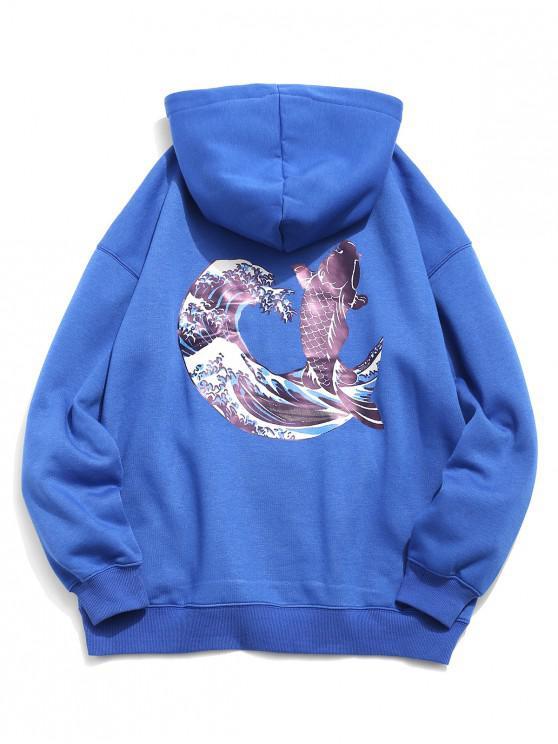 new Koi Print Front Pocket Hoodie - BLUEBERRY BLUE L
