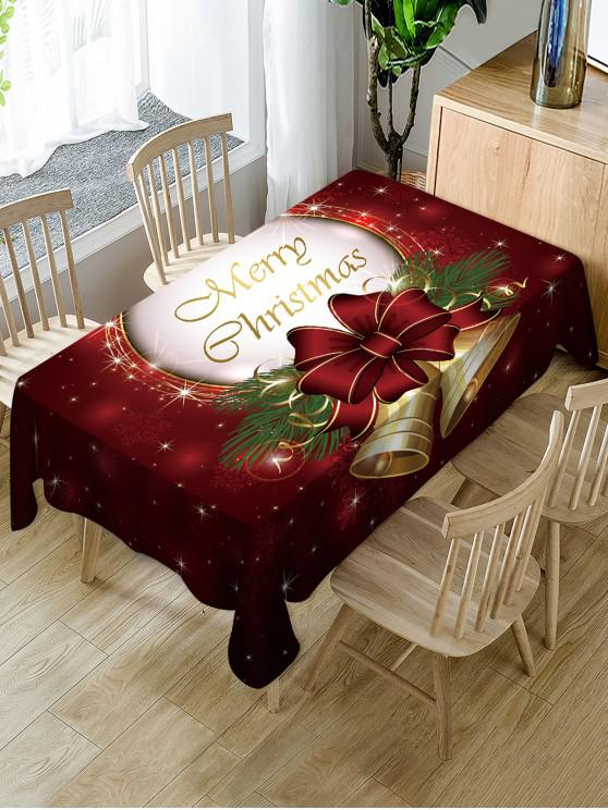 shops Merry Christmas Bell Print Fabric Waterproof Table Cloth - MULTI W60 X L84 INCH
