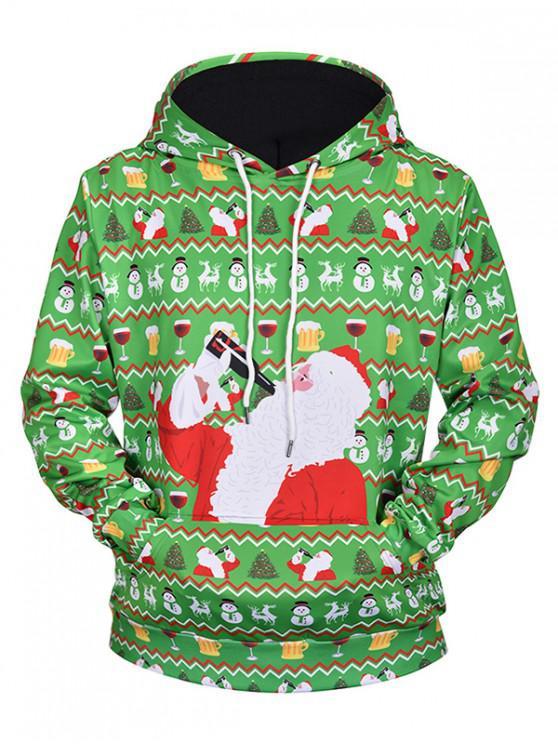 chic Drinking Santa Claus Print Drawstring Hoodie - SEAWEED GREEN L