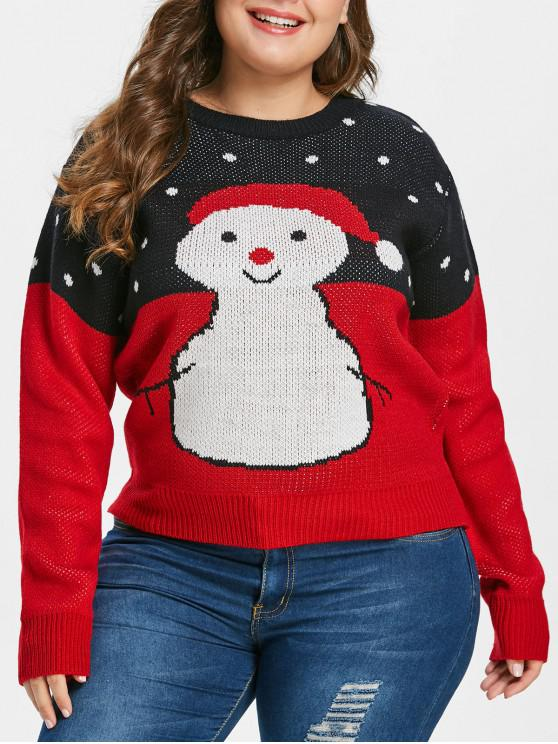 women Plus Size Snowman Christmas Sweater - RED L