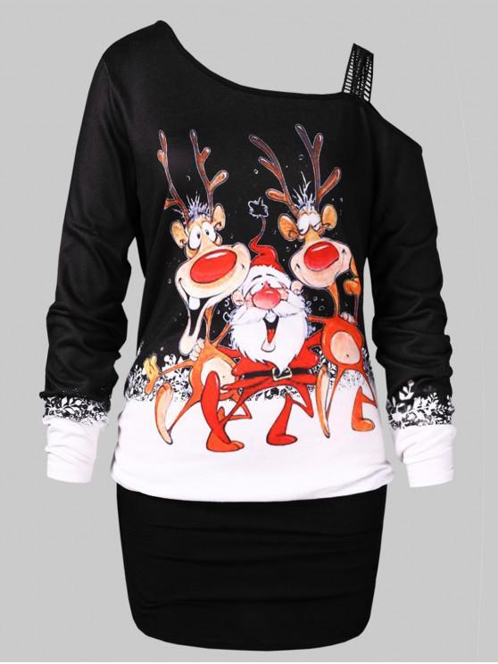 Plus Size Christmas Elk Print Blouson T-shirt - Negru L