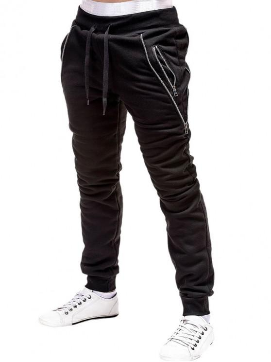 sale Zip Embellished Casual Sport Jogger Pants - BLACK XL