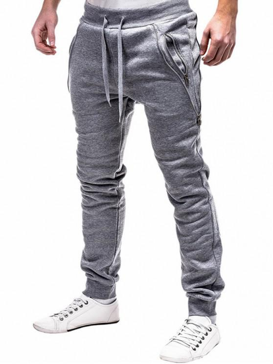 women's Zip Embellished Casual Sport Jogger Pants - LIGHT GRAY 2XL