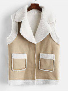 Pocket Faux Suede Fluffy Waistcoat - Apricot