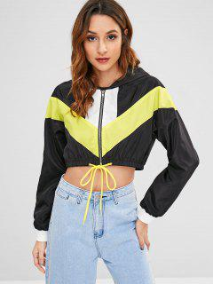 ZAFUL Cropped Zip Up Windbreaker Jacket - Black S
