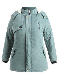 Zip Up Plus Size Sheepskin Coat - Cyan Opaque 2x