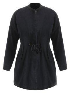 Drawstring Zip Up Plus Size Coat - Black 4x