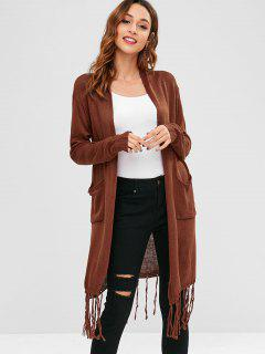 Fringed Open Front Lonline Cardigan - Brown Xl