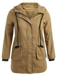 Hooded Plus Size Twill Trench Coat - Camel Brown 4x