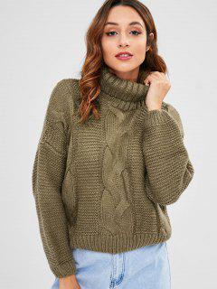 Cable Knit Turtleneck Chunky Sweater - Khaki