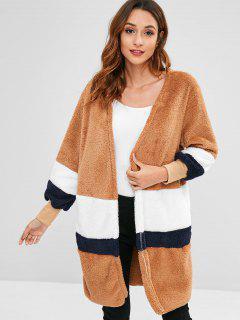 Stripy Panel Faux Fur Fluffy Coat - Brown S