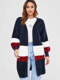 Stripy Panel Faux Fur Fluffy Coat - Deep Blue M