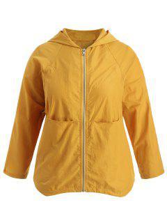 Plus Size Raglan Sleeve Hooded Jacket - Yellow 1x
