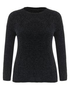 Plus Size Velvet Drop Shoulder Sweater - Black 2x