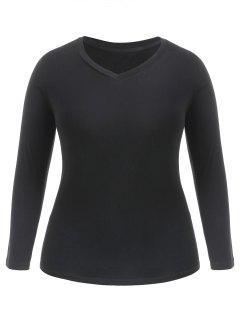 Camiseta Casual De Cuello V Plus Size - Negro 4x