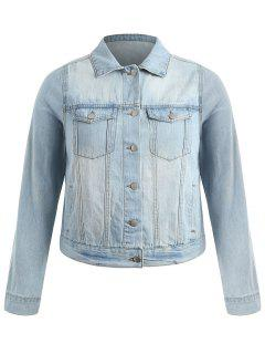 Plus Size Light Wash Denim Jacket - Light Blue 4x
